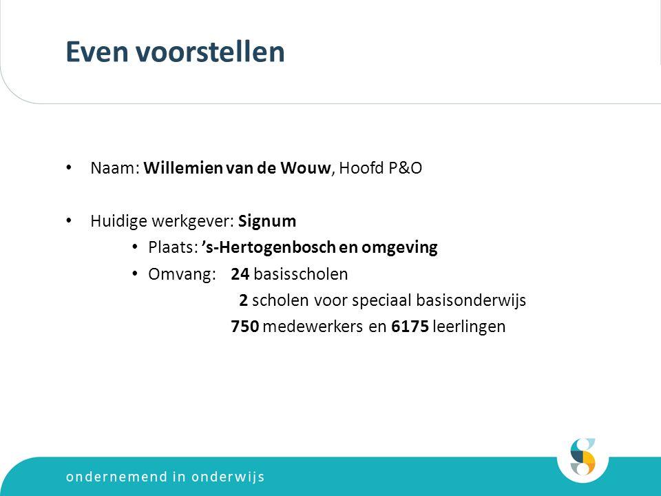 Even voorstellen Naam: Willemien van de Wouw, Hoofd P&O Huidige werkgever: Signum Plaats: 's-Hertogenbosch en omgeving Omvang: 24 basisscholen 2 scholen voor speciaal basisonderwijs 750 medewerkers en 6175 leerlingen