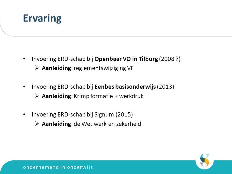 Ervaring Invoering ERD-schap bij Openbaar VO in Tilburg (2008 ?)  Aanleiding: reglementswijziging VF Invoering ERD-schap bij Eenbes basisonderwijs (2013)  Aanleiding: Krimp formatie + werkdruk Invoering ERD-schap bij Signum (2015)  Aanleiding: de Wet werk en zekerheid