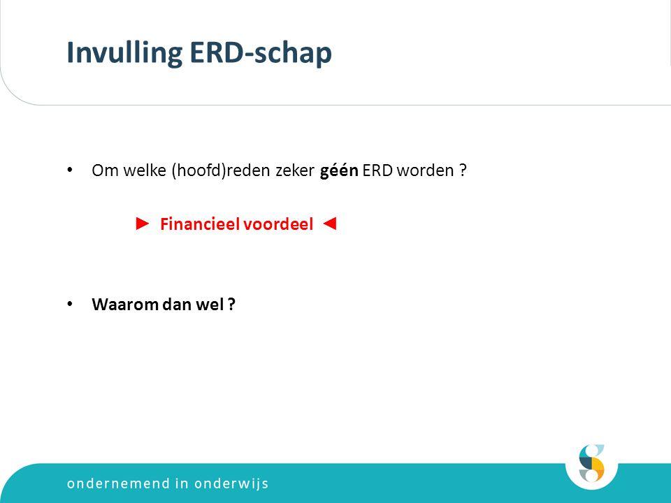 Invulling ERD-schap (2)  Meer aandacht voor het verzuimbeleid (bewustwording van de kosten van het verzuim) …..