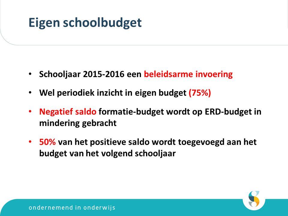 Eigen schoolbudget Schooljaar 2015-2016 een beleidsarme invoering Wel periodiek inzicht in eigen budget (75%) Negatief saldo formatie-budget wordt op ERD-budget in mindering gebracht 50% van het positieve saldo wordt toegevoegd aan het budget van het volgend schooljaar