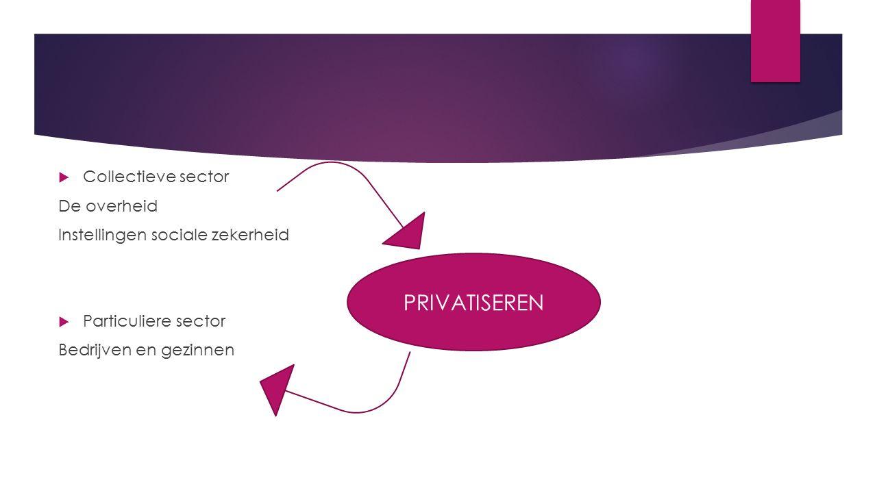  Collectieve sector De overheid Instellingen sociale zekerheid  Particuliere sector Bedrijven en gezinnen PRIVATISEREN