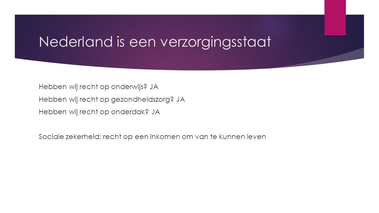 Nederland is een verzorgingsstaat Hebben wij recht op onderwijs.