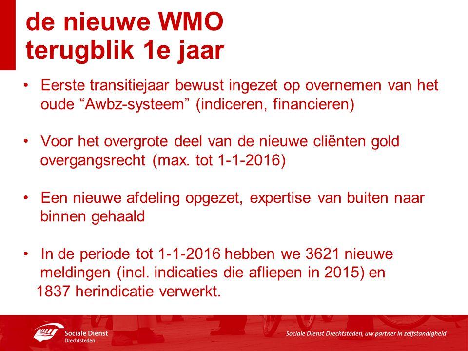 de nieuwe WMO terugblik 1e jaar Eerste transitiejaar bewust ingezet op overnemen van het oude Awbz-systeem (indiceren, financieren) Voor het overgrote deel van de nieuwe cliënten gold overgangsrecht (max.