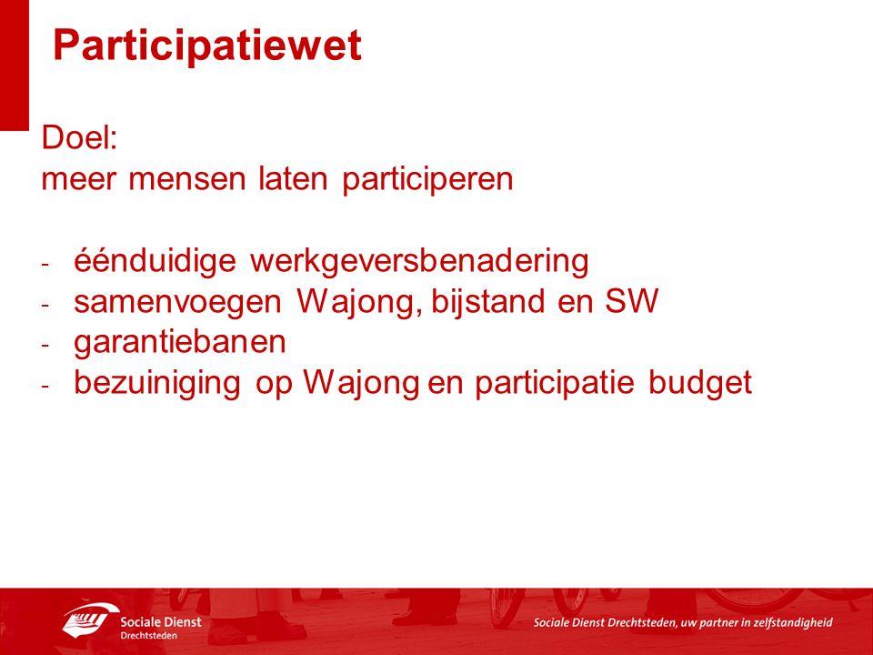 Participatiewet Doel: meer mensen laten participeren - éénduidige werkgeversbenadering - samenvoegen Wajong, bijstand en SW - garantiebanen - bezuiniging op Wajong en participatie budget