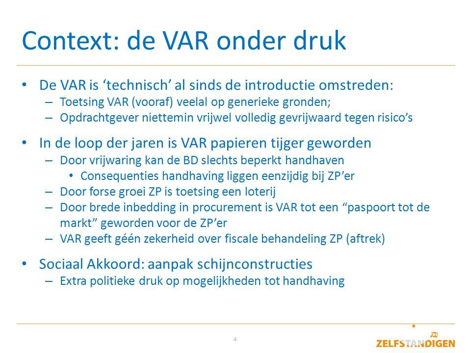 4 Context: de VAR onder druk De VAR is 'technisch' al sinds de introductie omstreden: – Toetsing VAR (vooraf) veelal op generieke gronden; – Opdrachtg