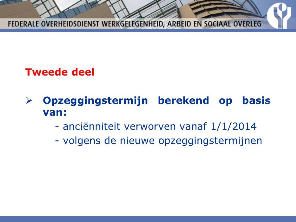 Tweede deel  Opzeggingstermijn berekend op basis van: - anciënniteit verworven vanaf 1/1/2014 - volgens de nieuwe opzeggingstermijnen