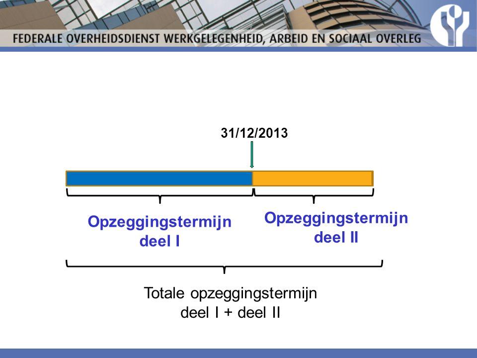 31/12/2013 Opzeggingstermijn deel I Opzeggingstermijn deel II Totale opzeggingstermijn deel I + deel II