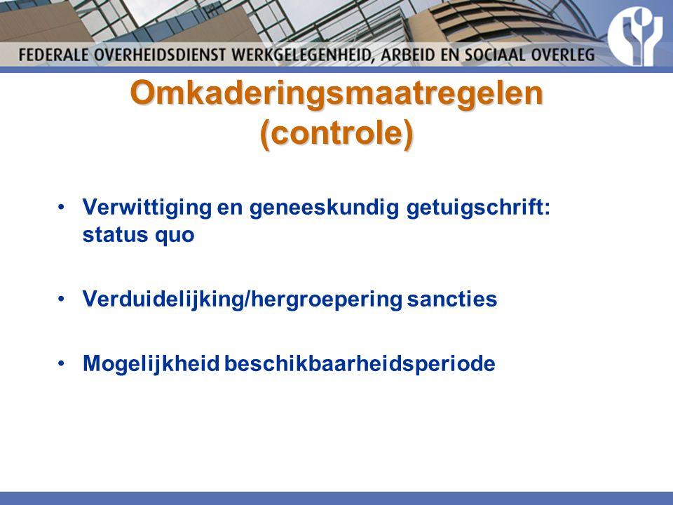 Omkaderingsmaatregelen (controle) Verwittiging en geneeskundig getuigschrift: status quo Verduidelijking/hergroepering sancties Mogelijkheid beschikbaarheidsperiode