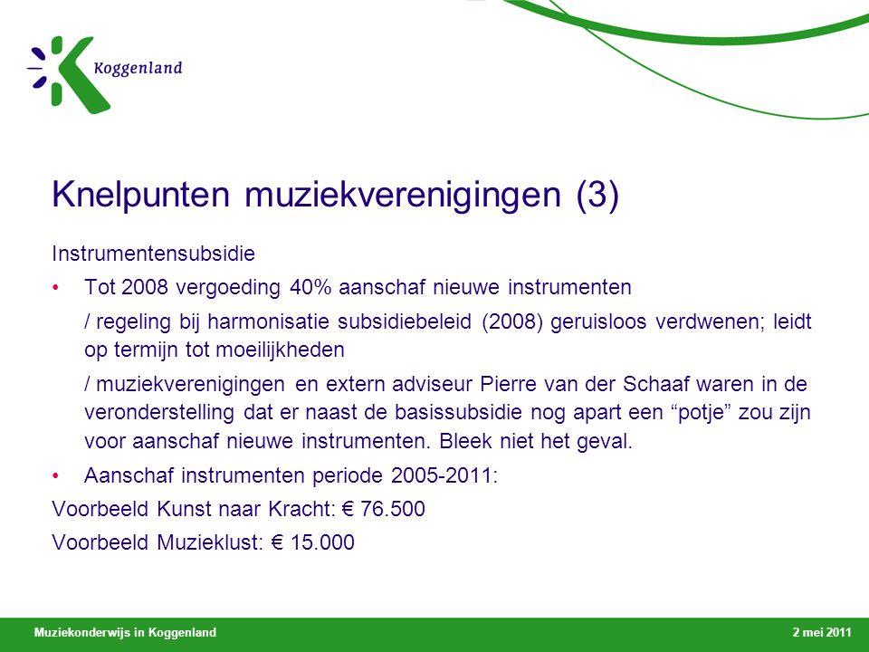 Muziekonderwijs in Koggenland2 mei 2011 Knelpunten muziekverenigingen (3) Instrumentensubsidie Tot 2008 vergoeding 40% aanschaf nieuwe instrumenten / regeling bij harmonisatie subsidiebeleid (2008) geruisloos verdwenen; leidt op termijn tot moeilijkheden / muziekverenigingen en extern adviseur Pierre van der Schaaf waren in de veronderstelling dat er naast de basissubsidie nog apart een potje zou zijn voor aanschaf nieuwe instrumenten.