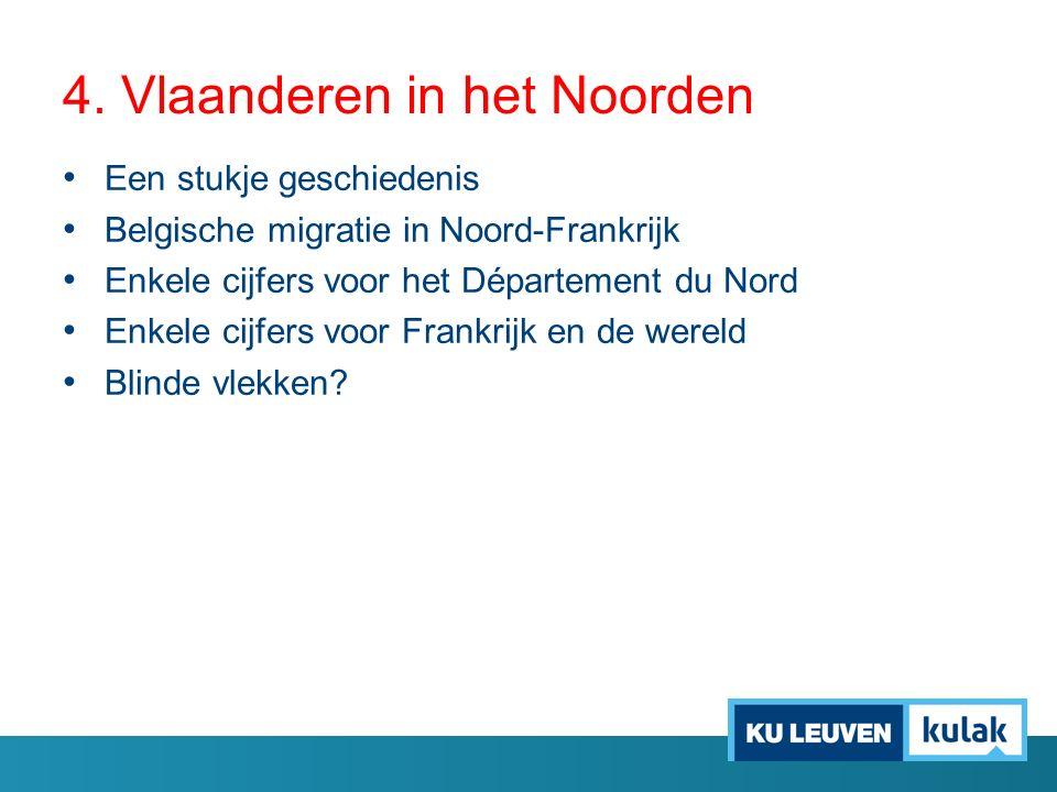 4. Vlaanderen in het Noorden Een stukje geschiedenis Belgische migratie in Noord-Frankrijk Enkele cijfers voor het Département du Nord Enkele cijfers