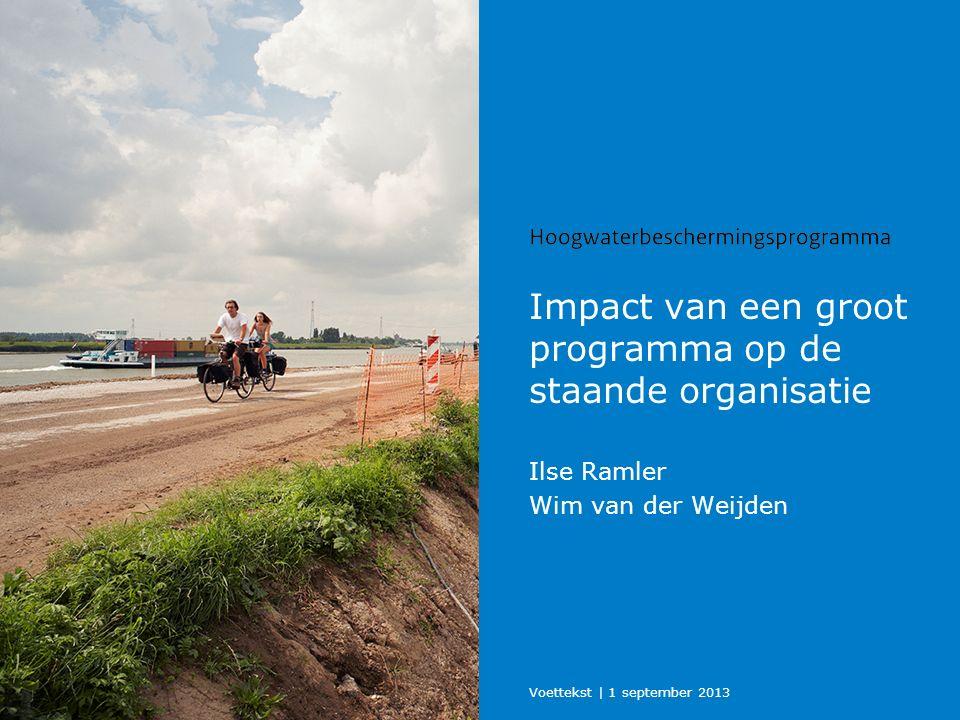 Impact van een groot programma op de staande organisatie Ilse Ramler Wim van der Weijden Voettekst | 1 september 2013