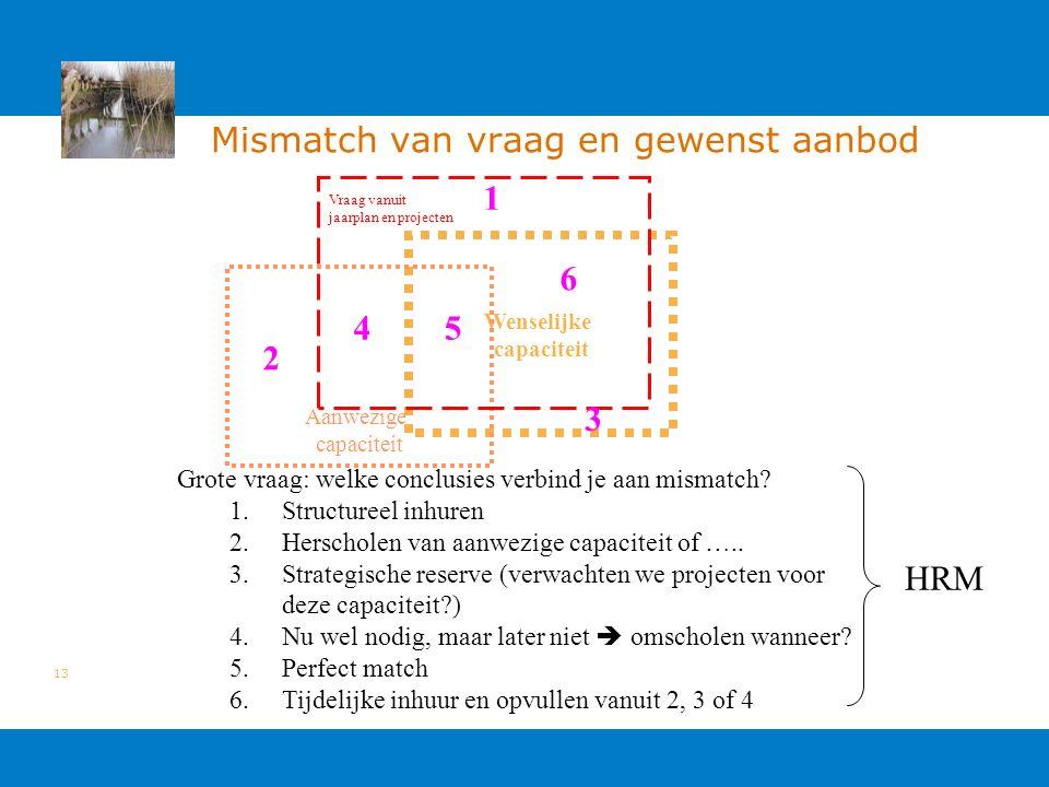 13 Mismatch van vraag en gewenst aanbod Wenselijke capaciteit Aanwezige capaciteit Vraag vanuit jaarplan en projecten Grote vraag: welke conclusies verbind je aan mismatch.