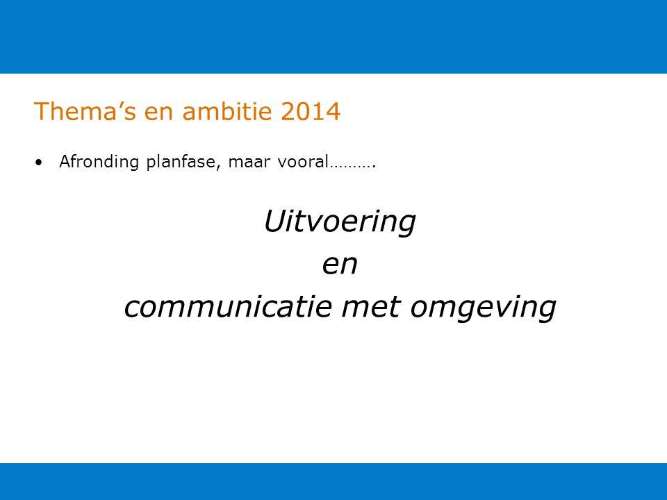 Thema's en ambitie 2014 Afronding planfase, maar vooral………. Uitvoering en communicatie met omgeving