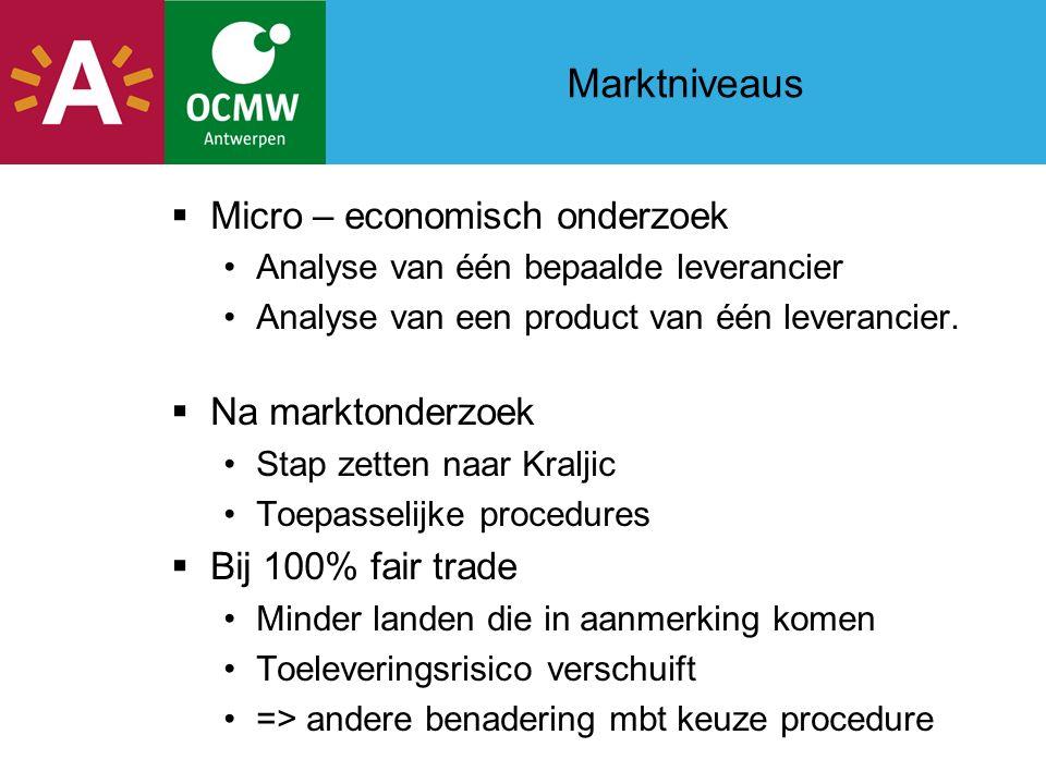 Marktniveaus  Micro – economisch onderzoek Analyse van één bepaalde leverancier Analyse van een product van één leverancier.
