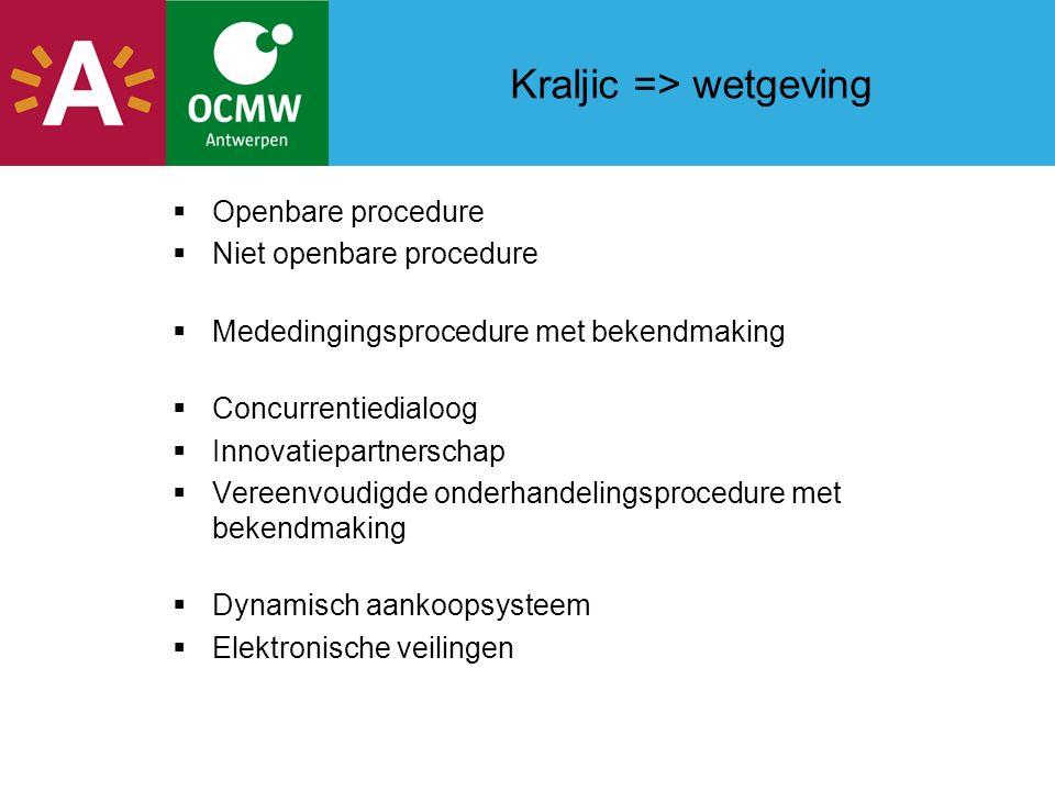 Kraljic => wetgeving  Openbare procedure  Niet openbare procedure  Mededingingsprocedure met bekendmaking  Concurrentiedialoog  Innovatiepartnerschap  Vereenvoudigde onderhandelingsprocedure met bekendmaking  Dynamisch aankoopsysteem  Elektronische veilingen