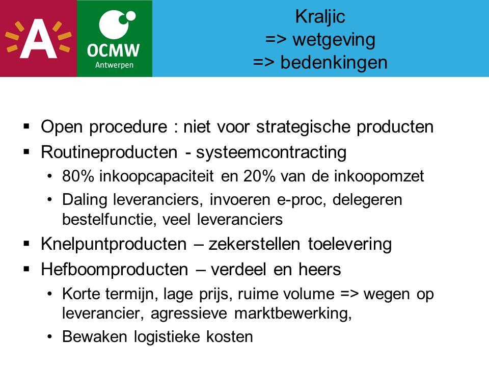 Kraljic => wetgeving => bedenkingen  Open procedure : niet voor strategische producten  Routineproducten - systeemcontracting 80% inkoopcapaciteit en 20% van de inkoopomzet Daling leveranciers, invoeren e-proc, delegeren bestelfunctie, veel leveranciers  Knelpuntproducten – zekerstellen toelevering  Hefboomproducten – verdeel en heers Korte termijn, lage prijs, ruime volume => wegen op leverancier, agressieve marktbewerking, Bewaken logistieke kosten