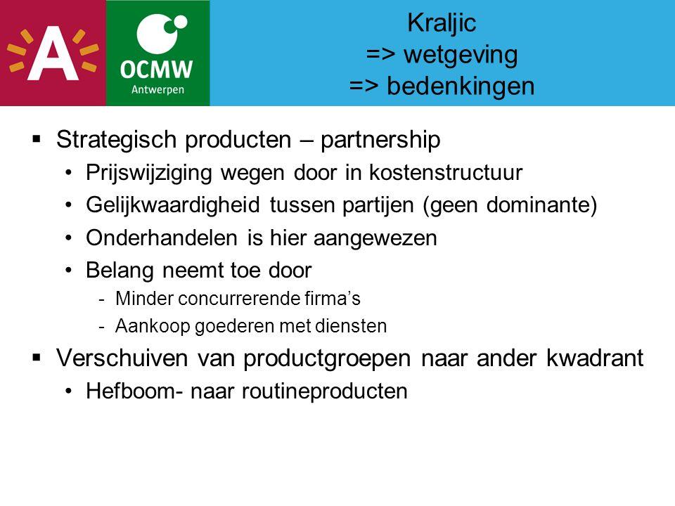 Kraljic => wetgeving => bedenkingen  Strategisch producten – partnership Prijswijziging wegen door in kostenstructuur Gelijkwaardigheid tussen partijen (geen dominante) Onderhandelen is hier aangewezen Belang neemt toe door -Minder concurrerende firma's -Aankoop goederen met diensten  Verschuiven van productgroepen naar ander kwadrant Hefboom- naar routineproducten