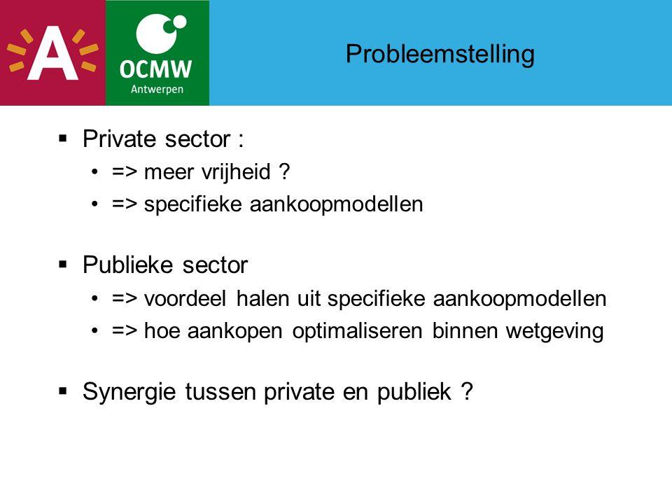 Probleemstelling  Private sector : => meer vrijheid .