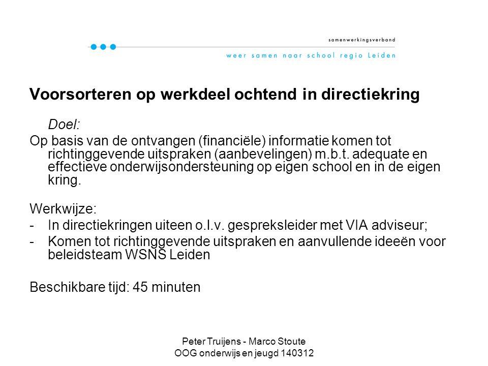 Peter Truijens - Marco Stoute OOG onderwijs en jeugd 140312 Voorsorteren op werkdeel ochtend in directiekring Doel: Op basis van de ontvangen (financiële) informatie komen tot richtinggevende uitspraken (aanbevelingen) m.b.t.