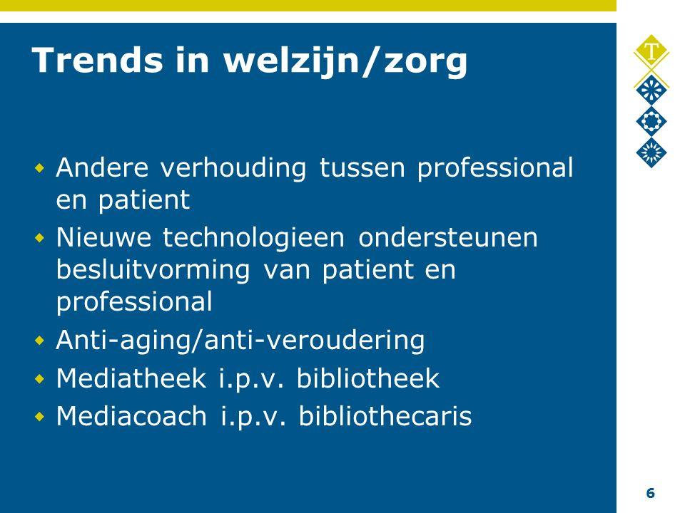 6 Trends in welzijn/zorg Andere verhouding tussen professional en patient Nieuwe technologieen ondersteunen besluitvorming van patient en professional Anti-aging/anti-veroudering Mediatheek i.p.v.