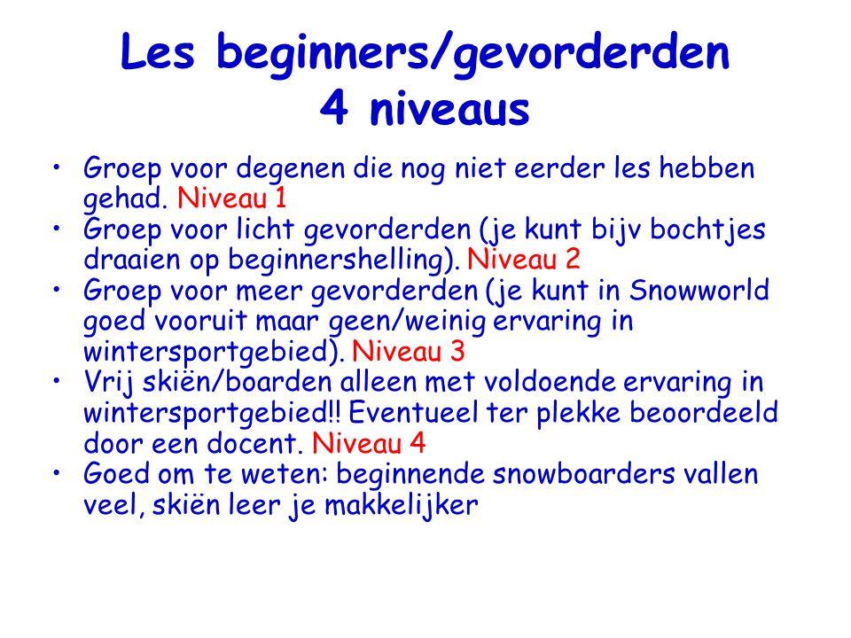 Les beginners/gevorderden 4 niveaus Groep voor degenen die nog niet eerder les hebben gehad.