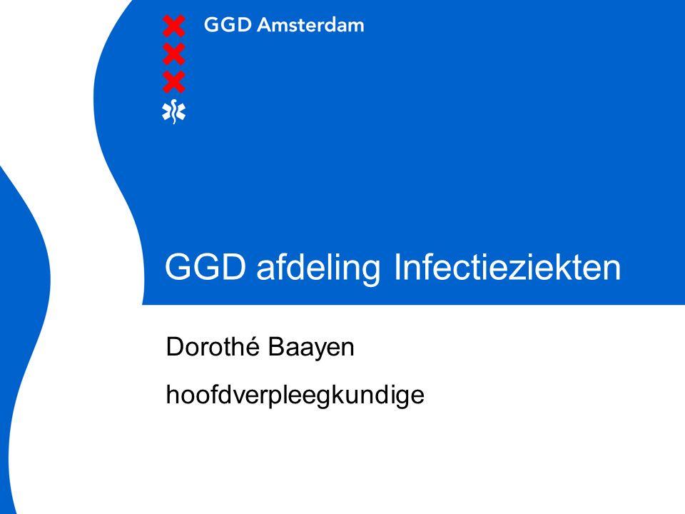 2 Afdeling Infectieziekten GGD Amsterdam  Afdeling Algemene Infectieziekten - bron en contactopsporing volgens infectieziektewet - afhandeling risicovolle accidenten - diagnostiek van infectieziekten voor huisartsen  Afdeling Hygiëne en Inspectie - hygiëne adviezen in grootkeukens en instellingen/ bedrijven / verpleeghuizen / tattoe en piercingstudio's etc.