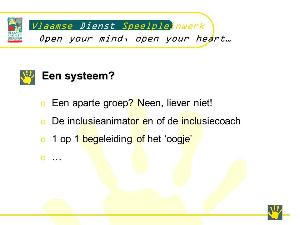 Een systeem. Vlaamse Dienst Speelpleinwerk Open your mind, open your heart… o Een aparte groep.