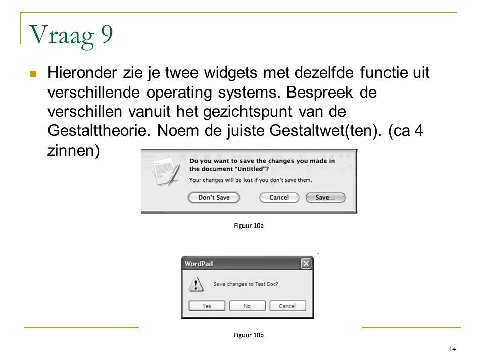 Vraag 9 Hieronder zie je twee widgets met dezelfde functie uit verschillende operating systems.