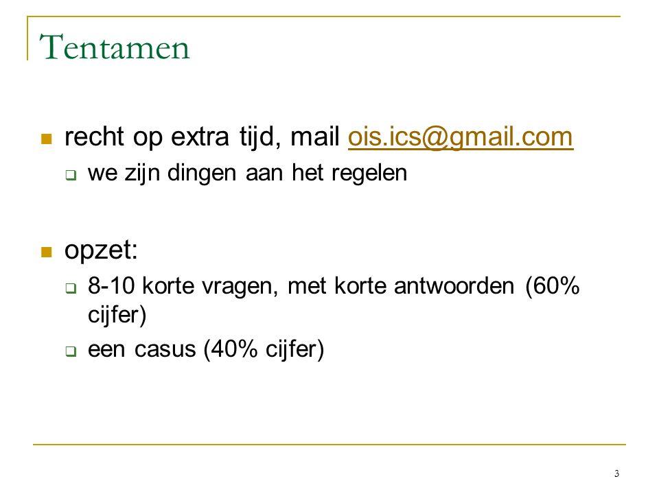 Tentamen recht op extra tijd, mail ois.ics@gmail.comois.ics@gmail.com  we zijn dingen aan het regelen opzet:  8-10 korte vragen, met korte antwoorden (60% cijfer)  een casus (40% cijfer) 3