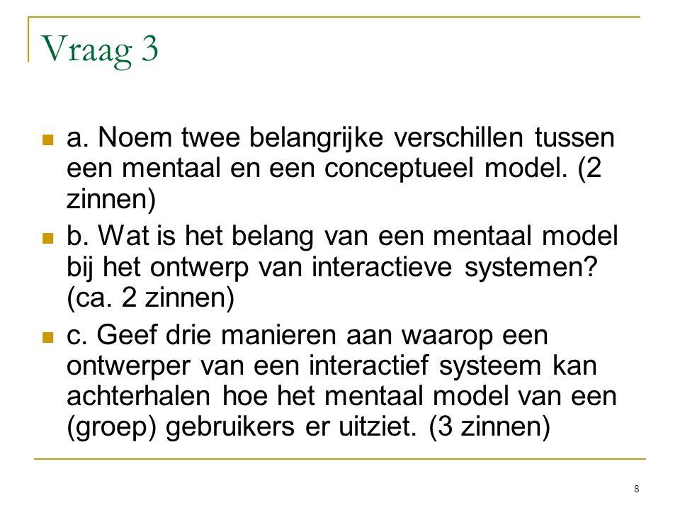 Vraag 3 a. Noem twee belangrijke verschillen tussen een mentaal en een conceptueel model.