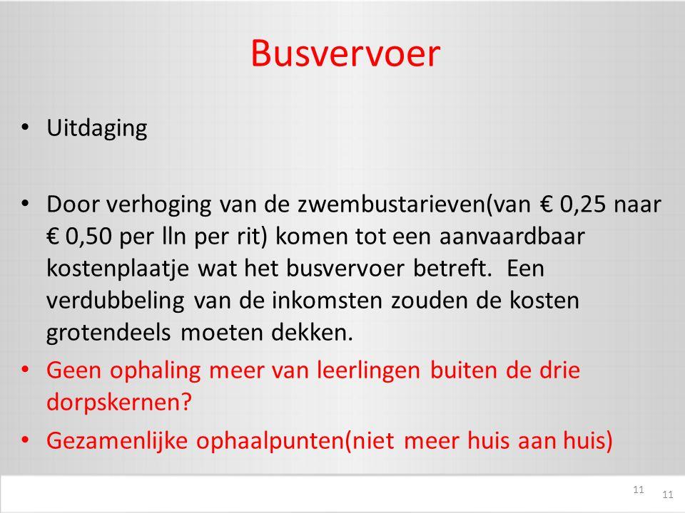 11 Busvervoer Uitdaging Door verhoging van de zwembustarieven(van € 0,25 naar € 0,50 per lln per rit) komen tot een aanvaardbaar kostenplaatje wat het busvervoer betreft.