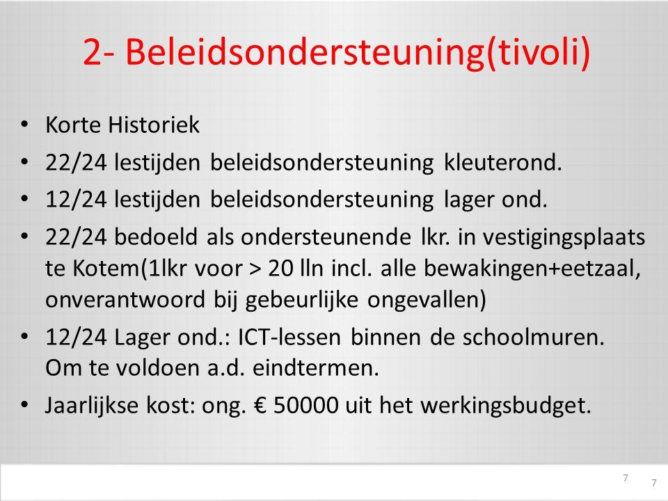 7 2- Beleidsondersteuning(tivoli) Korte Historiek 22/24 lestijden beleidsondersteuning kleuterond.