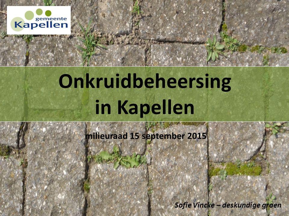 Onkruidbeheersing in Kapellen Sofie Vincke – deskundige groen milieuraad 15 september 2015