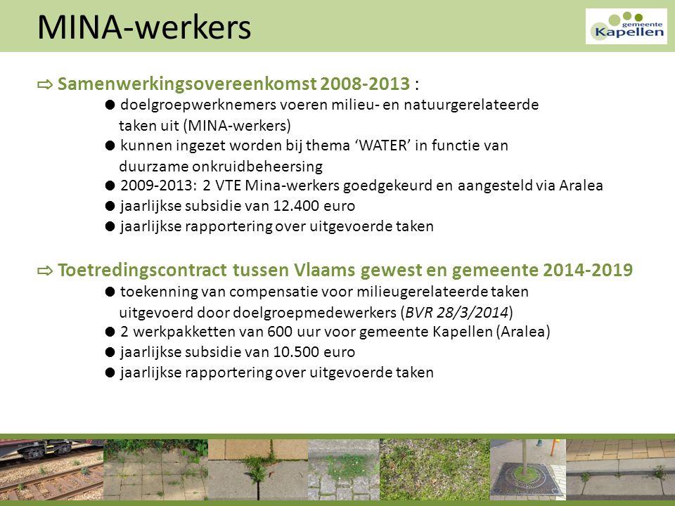 MINA-werkers ⇨ Samenwerkingsovereenkomst 2008-2013 : ● doelgroepwerknemers voeren milieu- en natuurgerelateerde taken uit (MINA-werkers) ● kunnen inge
