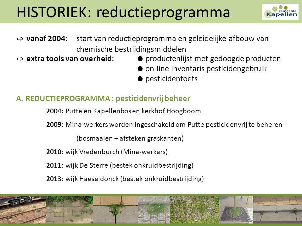 HISTORIEK: reductieprogramma ⇨ vanaf 2004: start van reductieprogramma en geleidelijke afbouw van chemische bestrijdingsmiddelen ⇨ extra tools van ove