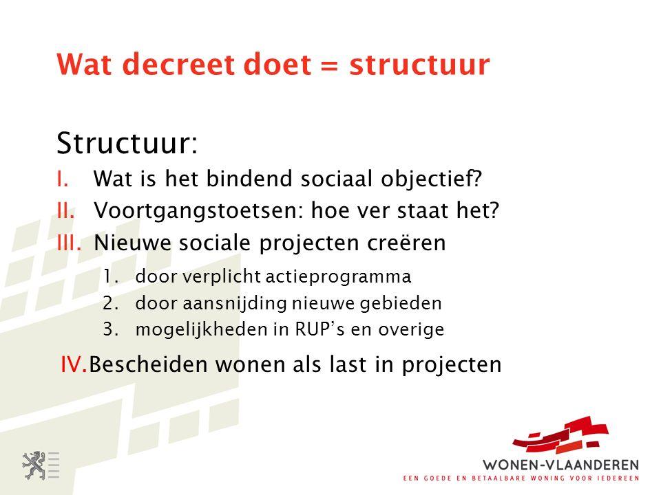 Wat decreet doet = structuur Structuur: I.Wat is het bindend sociaal objectief.