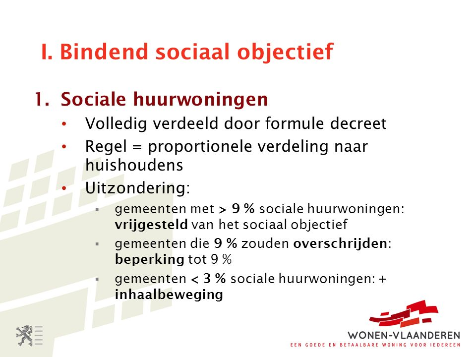 I. Bindend sociaal objectief 1.Sociale huurwoningen Volledig verdeeld door formule decreet Regel = proportionele verdeling naar huishoudens Uitzonderi
