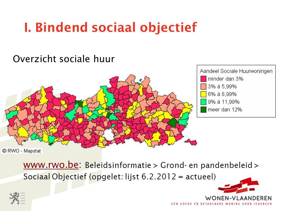 I. Bindend sociaal objectief Overzicht sociale huur www.rwo.bewww.rwo.be: Beleidsinformatie > Grond- en pandenbeleid > Sociaal Objectief (opgelet: lij