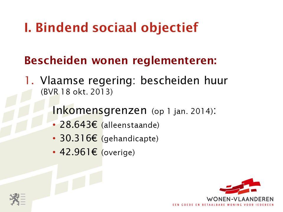 I. Bindend sociaal objectief Bescheiden wonen reglementeren: 1.Vlaamse regering: bescheiden huur (BVR 18 okt. 2013) Inkomensgrenzen (op 1 jan. 2014) :