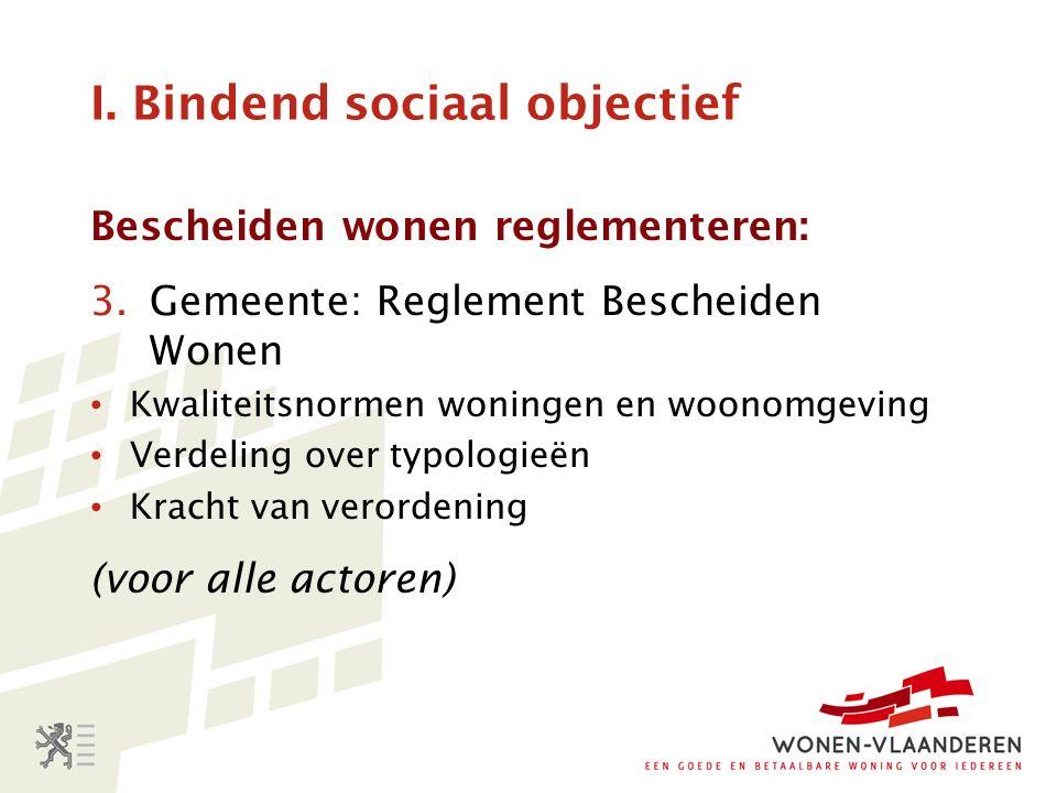 I. Bindend sociaal objectief Bescheiden wonen reglementeren: 3.Gemeente: Reglement Bescheiden Wonen Kwaliteitsnormen woningen en woonomgeving Verdelin