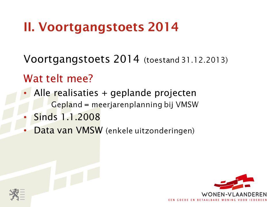 II. Voortgangstoets 2014 Voortgangstoets 2014 (toestand 31.12.2013) Wat telt mee.