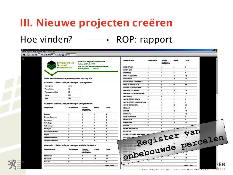 III. Nieuwe projecten creëren Hoe vinden ROP: rapport Register van onbebouwde percelen