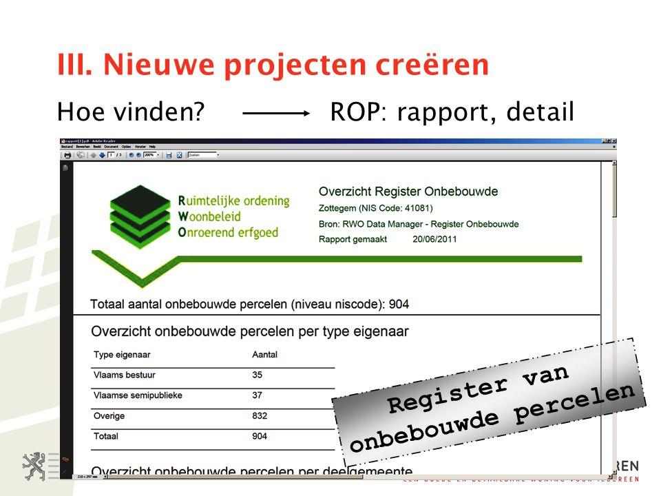 III. Nieuwe projecten creëren Hoe vinden ROP: rapport, detail Register van onbebouwde percelen