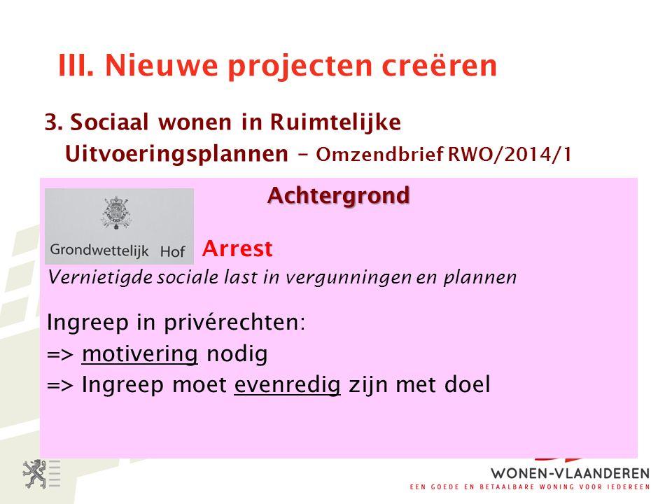 III. Nieuwe projecten creëren Achtergrond Arrest Vernietigde sociale last in vergunningen en plannen Ingreep in privérechten: => motivering nodig => I
