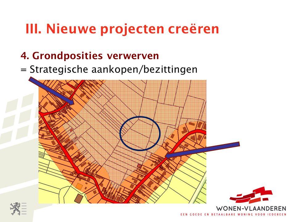 III. Nieuwe projecten creëren 4. Grondposities verwerven = Strategische aankopen/bezittingen