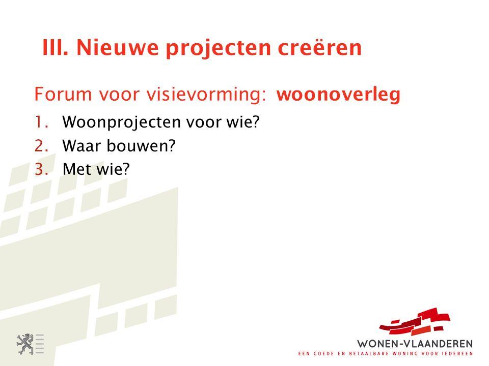 III. Nieuwe projecten creëren Forum voor visievorming: woonoverleg 1.Woonprojecten voor wie.