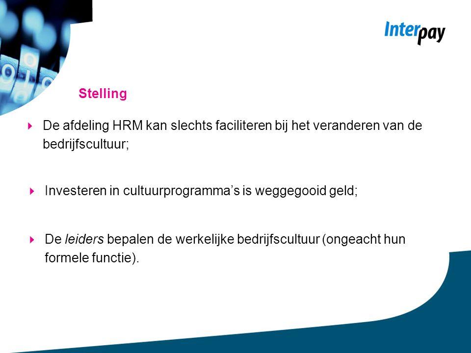 Stelling  De afdeling HRM kan slechts faciliteren bij het veranderen van de bedrijfscultuur;  Investeren in cultuurprogramma's is weggegooid geld;  De leiders bepalen de werkelijke bedrijfscultuur (ongeacht hun formele functie).