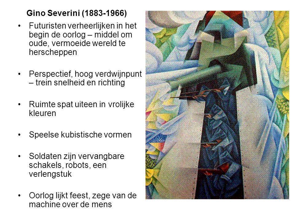 Gino Severini (1883-1966) Futuristen verheerlijken in het begin de oorlog – middel om oude, vermoeide wereld te herscheppen Perspectief, hoog verdwijn