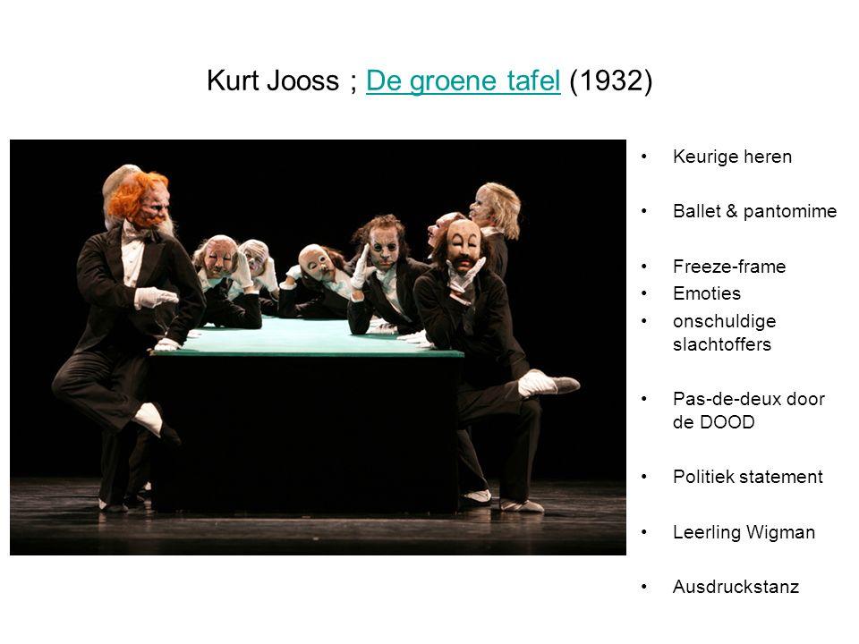 Kurt Jooss ; De groene tafel (1932)De groene tafel Keurige heren Ballet & pantomime Freeze-frame Emoties onschuldige slachtoffers Pas-de-deux door de DOOD Politiek statement Leerling Wigman Ausdruckstanz
