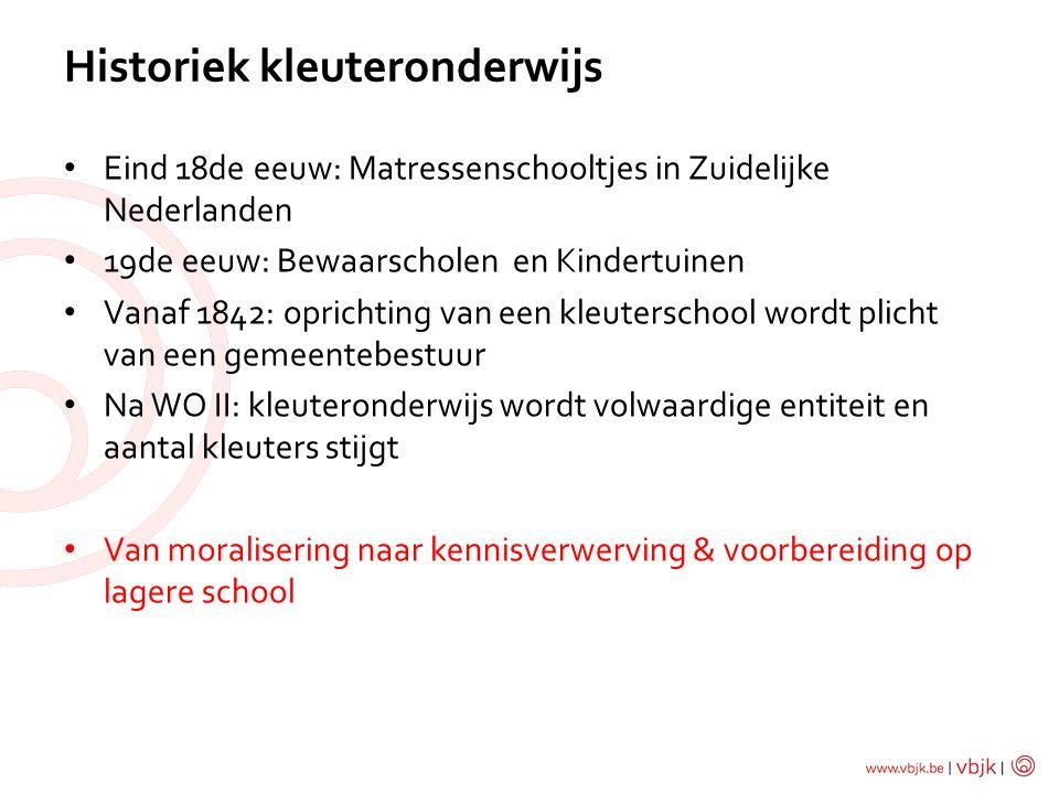 Eind 18de eeuw: Matressenschooltjes in Zuidelijke Nederlanden 19de eeuw: Bewaarscholen en Kindertuinen Vanaf 1842: oprichting van een kleuterschool wo
